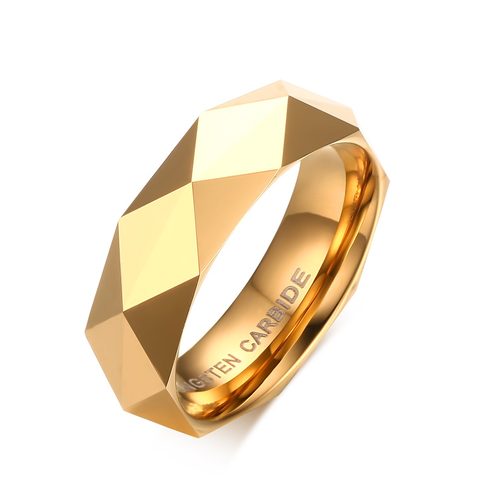Multi-faceted Alliances 100% tungsten carbide wedding band <font><b>couple</b></font> <font><b>rings</b></font> <font><b>set</b></font> for men women Gift Gold Color image