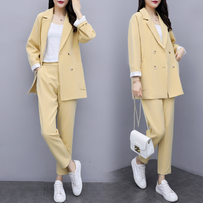 Casual Temperament Solid Color Women's Suit Set Pants Suit 2019 New Fashion Double-breasted Suit Female Slim Trousers Two-piece