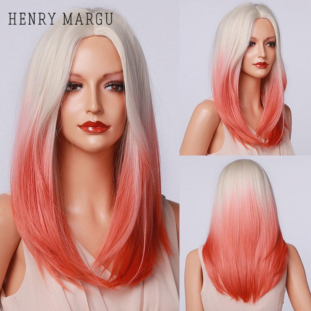 Henry margu longa reta perucas de festa cosplay branco loira vermelho ombre perucas de parte média resistente ao calor perucas sintéticas para mulher