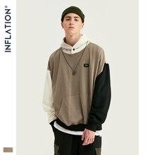 Design de inflação fw 2020 contraste cor dos homens moda hoodies bloco cor masculino hoodie com logotipo impresso rua wear masculino solto ajuste