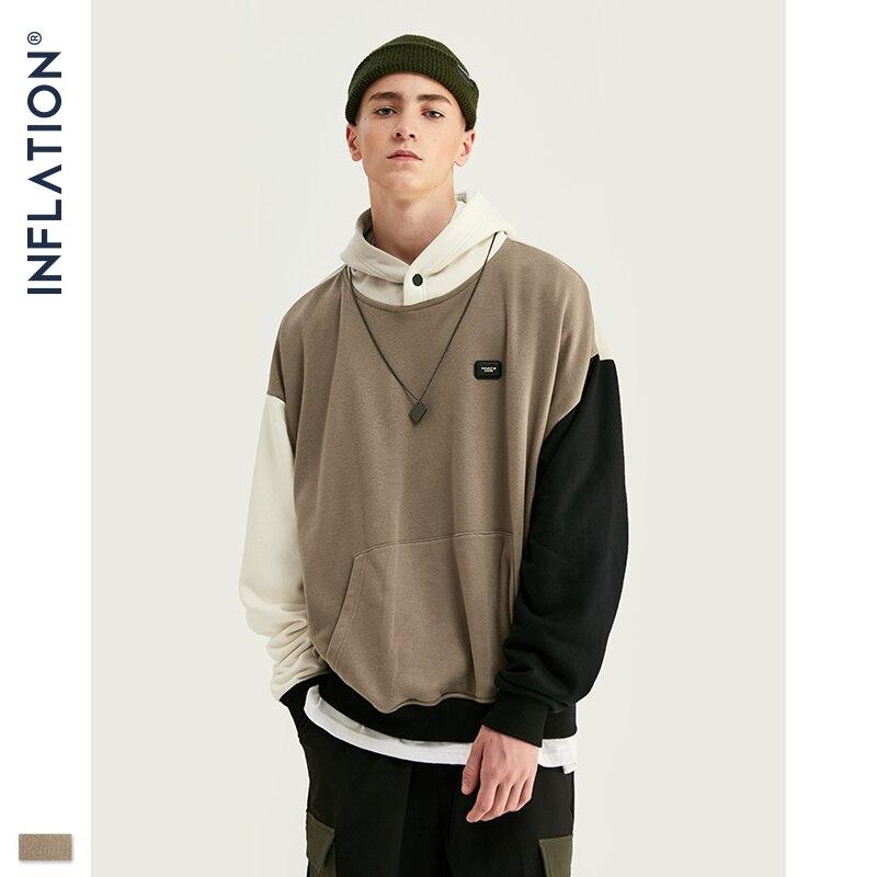 INFLATION Design FW 2019 Contrast Color Men Fashion Hoodies Block Color Men Hoodie With Logo Printed Street Wear Men Loose Fit