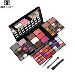 SEPROFE 74 цвета профессиональный макияж тени для век Палитра наборы для женщин Красота Косметика набор блеск Тени для век макияж Палитра короб...