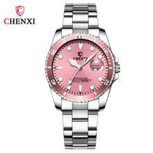 CHENXI lüks klasik Quartz saat kadınlar için şık paslanmaz çelik su geçirmez ışık rahat elbise bayanlar kol saati