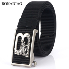 BOKADIAO Men&women Nylon Belt Tigers Metal Automatic Buckle Canvas belt