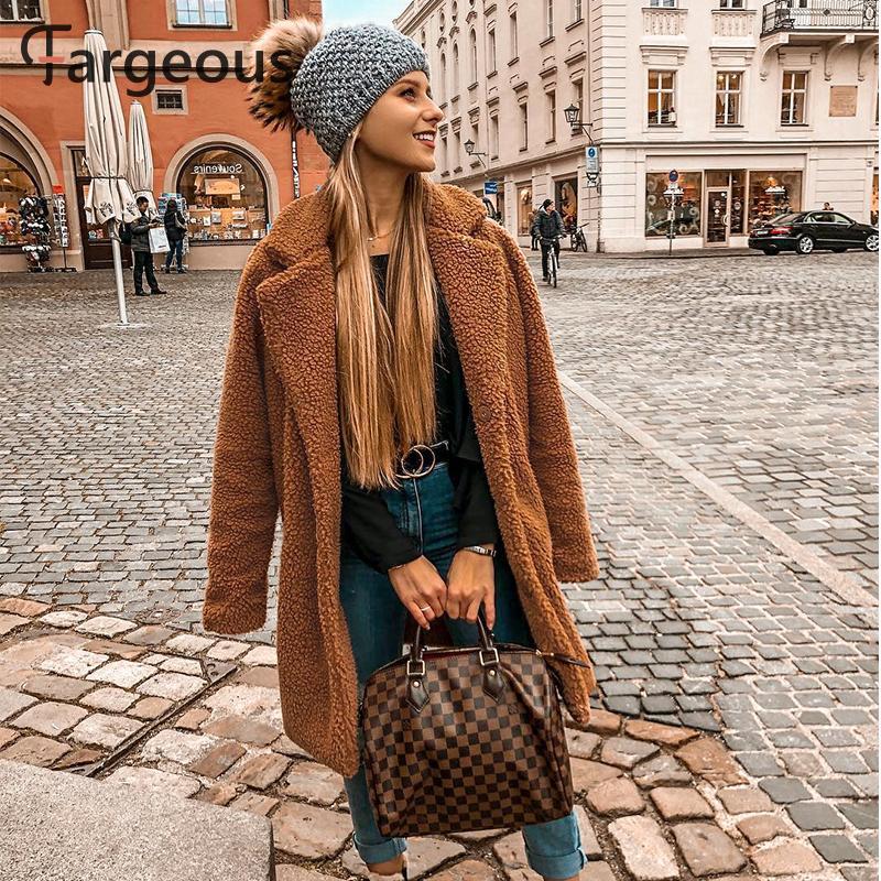 Fargeous Long Faux Fur Winter Jacket Coat Thick Fluffy Women 5 Colors Coats 2019 Streetweat Chic Solid Fur Coat Jacket