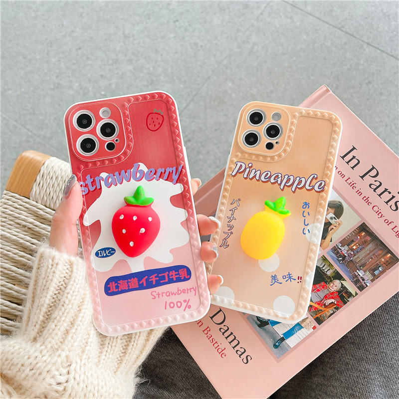 Case 3D Fruit Strawberry Decompress Stereo Elastic Cover For Iphone 12 11 Pro Max XR XS Max 7 8 Plus Lovely Soft Cover Cap