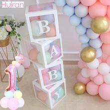 Huiran Transparent Box DIY Balloon 1st Birthday Balloons First Decorations 1 2 Years Happy Party Kids