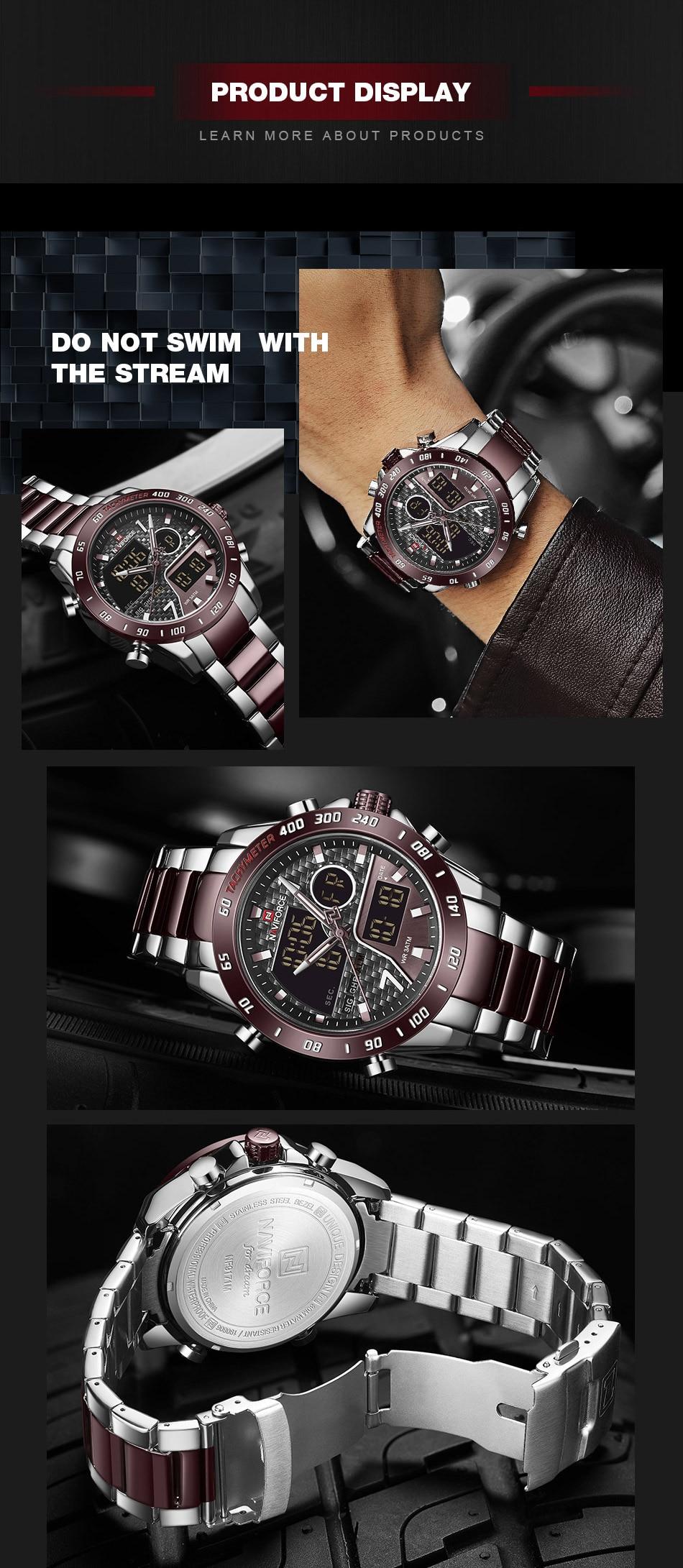 Ha60aa85bb2a44b08b8f70d79961225a2j NAVIFORCE Men Digital Watch LED Sport Military Mens Quartz Wristwatch Male Luminous Waterproof Clock Watches Relogio Masculino