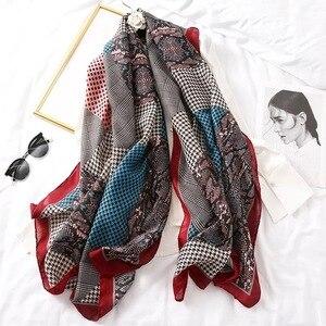 Image 1 - Luxury brand winter leopard silk scarf women Soft Pashminas shawls cotton scarves Sjaal muslim hijab animal print leopardo cape