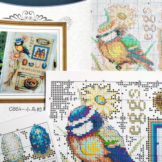 Fishxx-ensemble de motifs dobservation doiseaux   Point de croix C864, paysage, broderie détude, photo suspendue, décoration de maison