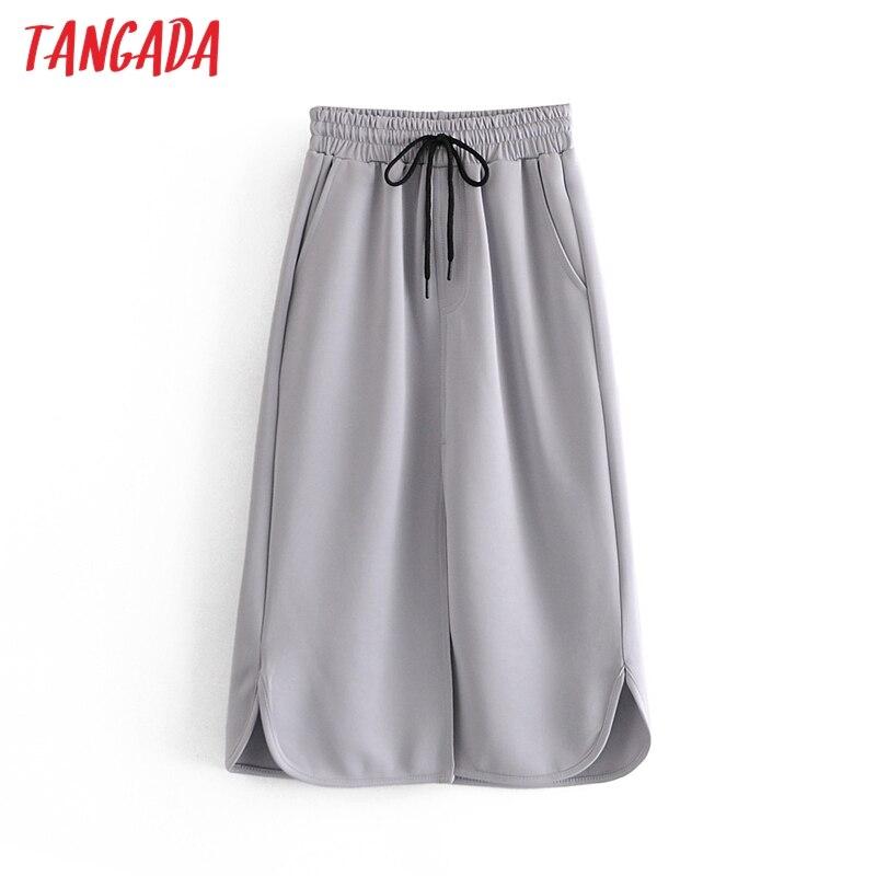 Tangada-Falda Midi lisa con cordones para Mujer, faldas con bolsillos laterales y cintura elástica, Estilo Vintage, 3W56