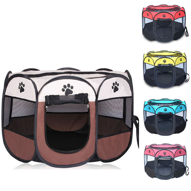 Hot Outdoor pet Octagonal dog Fence Portable Folding Pet Tent Dog House Cage Dog Cat Tent Playpen Puppy Kennel sofa Supplies