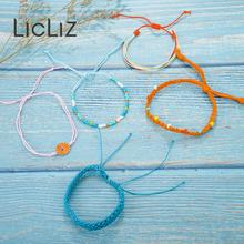 LicLiz 2019 New Fashion Boho Rope Wrap Bracelet Set for Women 5 Colors 1 Handmade Weave Braided Pulseras LPB0497A