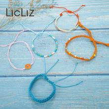 купить LicLiz 2019 New Fashion Boho Rope Wrap Bracelet Set for Women 5 Colors 1 Set Handmade Weave Braided Bracelet Pulseras LPB0497A онлайн