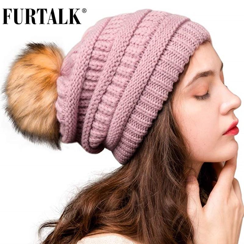 FURTALK Autumn Winter Beanie Hat For Women Knitted Pompom Hat Slouchy Beanie Skullies For Female Black Red Yellow Bonnet Cap