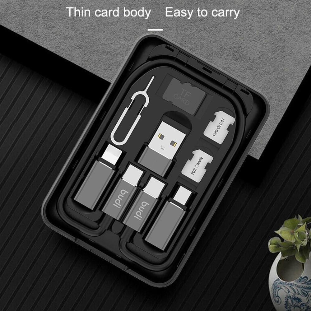 5000mAH Power Bank Multi-function Data Cable USB Box Universal Smart Adaptor Card Storage For Iphone Xiaomi Huawei