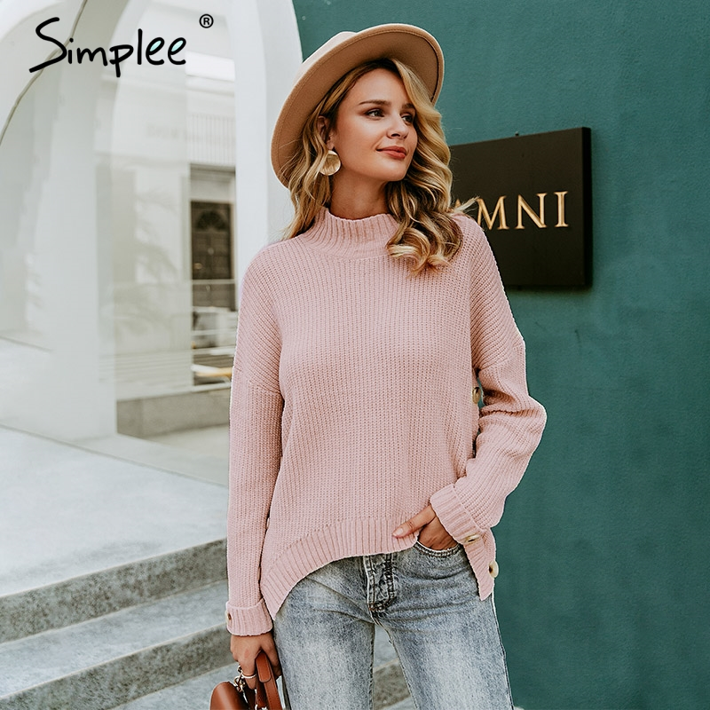 Simplee Turtleneck Knitted Sweater Women Pullover Long Sleeve Solid Oversized Sweater Button Lady Sweater Jumper Pull Femme
