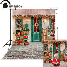 Allenjoy Christmas backdrop photography 3D house door gift outside decorations photocall photophone photo studio background allenjoy photophone background photography studio fantasy halloween magic window fire basin fairy tale backdrop palace photocall