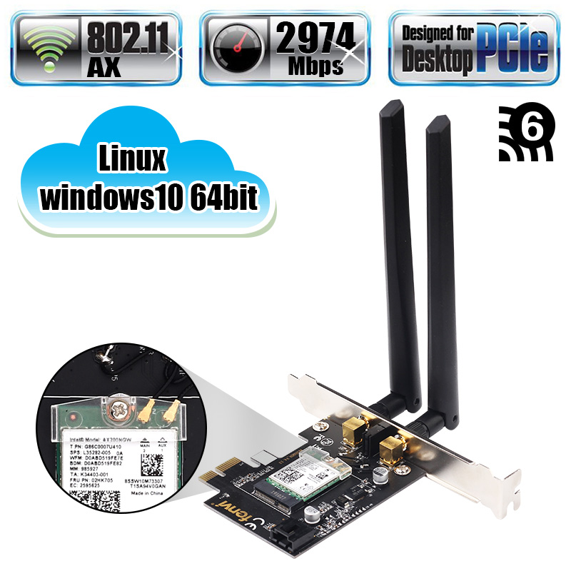 Dual Band 2.4Gbps PCIe Wifi Card Gigabit Network Card Bluetooth 5.0 Wi-Fi 6 AX200 Wireless Adapter For Pc Desktop Windows 10(China)