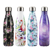 Eco Friendly Flamingo Stainless Steel Water Bottle Sport Thermos  Drink Water+Bottles Reusable Coffee Travel Mug Tumbler