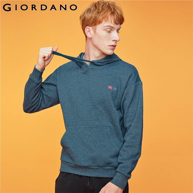 Giordano Men Sweatshirts Embroidery Fleece-lined Kanga Pocket Hoodie Pullover Slight Thick Loose Sudaderas Hombre 13099704