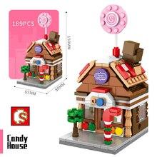 SEMBO architektura Mini ulica miasta widok klocki marka sklep sklep dom twórca Model DIY cegły zabawki dla dzieci prezent