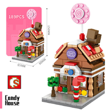 SEMBO العمارة مدينة صغيرة عرض الشارع اللبنات العلامة التجارية مخزن متجر منزل الخالق نموذج DIY بها بنفسك الطوب لعب للأطفال هدية