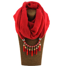 seasons new fashion cotton scarf velvet pendant quality TR Tassel stone jewelry solid color
