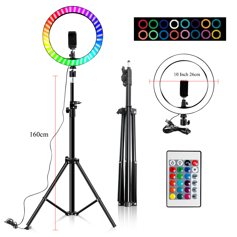 Ha60b6f6bee0f4ff88299b3889400359eN 10 Inch Rgb Video Light 16Colors Rgb Ring Lamp For Phone with Remote Camera Studio Large Light Led USB Ring 26cm for Youtuber