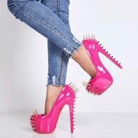SHOFOO shoes,Beautiful fashionable women's shoes,rivet decoration,15 cm high heeled women's shoes,round toe pumps.size: 34 45