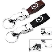 1 шт брелок для ключей с кожаным логотипом автомобиля mazda