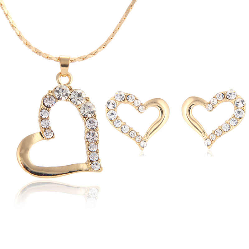 2015 New Fashion Lovely Cute Double Heart Necklace and Earring Crystal Jewelry Sets For Women Girls Jewellery