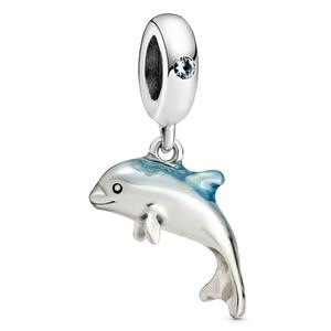 Nowy 925 Sterling Silver zwierząt koralik urok błyszczący niebieski emalia Shimmering wisiorek w kształcie delfina koraliki Fit bransoletka Pandora Diy biżuteria
