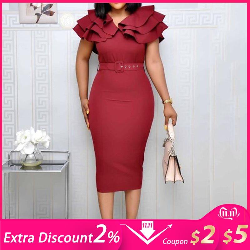 Mid-Calf Falbala Short Sleeve Pullover Plain Dress Women Summer Ruffle Elegant Wine Red Bodycon Midi Dress(with Belt)