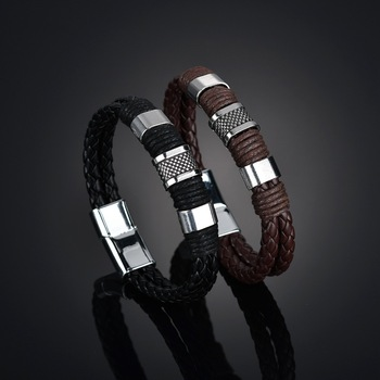 2020 Vintage Brown Black Leather Bracelet Men Fashion Handmade Bracelet Jewelry Accessories