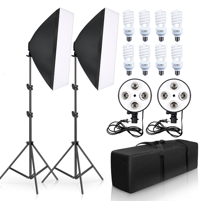 50cm*70cm Softbox Photography Lighting Kit Continuous Lighting Kit with 2M Light Stand, Studio Lighting Kit with 8pcs 45w Bulbs 1