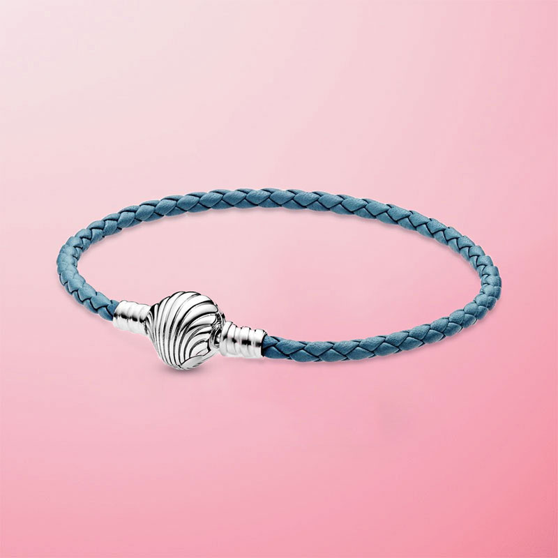 2020 New Summer 925 Sterling Silver Seashell Clasp Turquoise Braided Leather Bracelet For Women Fashion DIY Jewelry