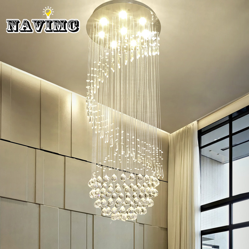 Large Spiral Led Crystal Chandelier