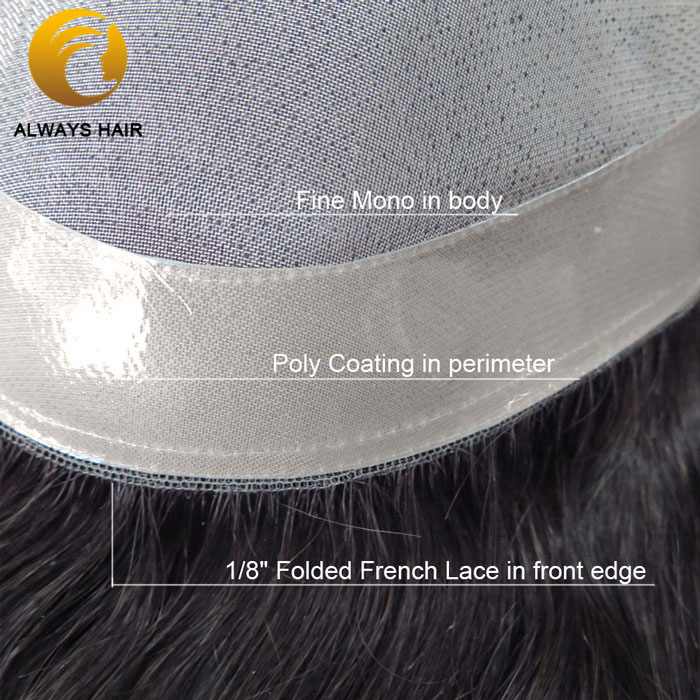 Natural Straight Fine Mono Human Hair Topper <font><b>Wig</b></font> Free Style Indian Human Hair Men Toupee <font><b>8</b></font> Different Sizes 130% Density image