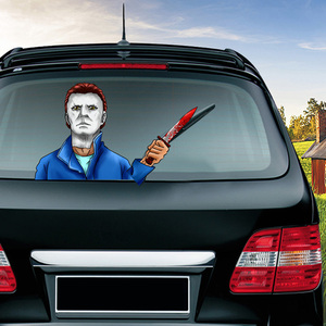 Image 5 - Halloween Horror Character Wiper Sticker Removable Car Rear Windshield Waving Wiper Sticker Halloween Car Sticker