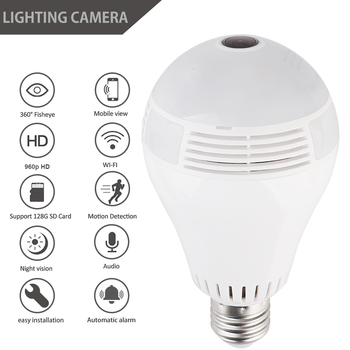 360 Degree  LED Ligh 1080P WIFI IP Camera Security Baby Video Monitor  Mini Wireless Lamp Camera Bulb HD Network Remote Monitor 180 degree cmos hd 1080p wireless panorama network surveillance camera home security mobile phone wifi remote baby monitor