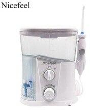 Nicefeel אוראלי משטף & שיניים מים Flosser עם 1000ml מים טנק + 7 טיפים עם מתכוונן לחץ מים פיק
