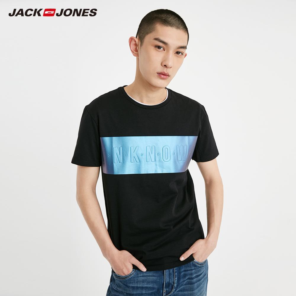 JackJones Men's 100% Cotton Straight Fit Letter Print Style Short-sleeved T-shirt| 219201596
