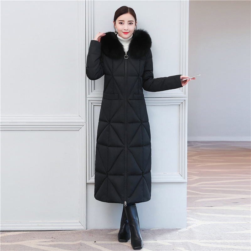 Jacket Down Women's + Large Fox Fur Thick Winter Coat Female 2020 Korean Long Duck Down Jacket Woman Hooded Hiver 16