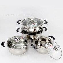 Немагнитный горшок из нержавеющей стали hu xing guo с двумя ручками и двойным дном, бытовая кухонная посуда, многоцелевой горшок для супа l