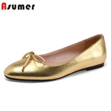 ASUMER 2020 new arrival suede leather single shoes ladies spring summer bowknot Leopard casual shoes round toe flat shoes women