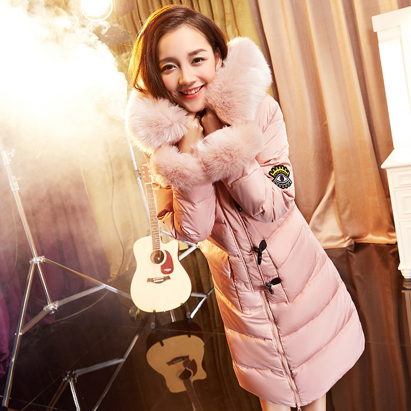 Down Winter Women's Jackets Warm Fur Collar Hooded Ladies Coats Thick Women Parka Fashion Down Coat Abrigo Mujer WXF385