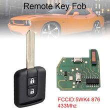 433Mhz 2 Buttons  Remote Car Key Fob with ID46 Chip 5WK4 876 Fit for Nissan New free shipping 2 button remote key with 7946 chip for nissan 433mhz 1piece