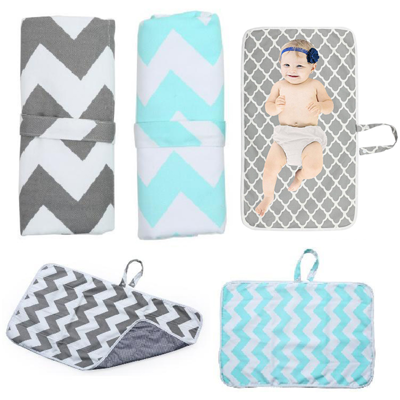 Baby Portable Foldable Washable Compact Travel Nappy Diaper Changing Mat Pattern Waterproof Toddler Floor Mat Change Play Pad