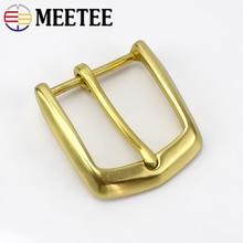 Meetee 1/3pcs Solid Brass Men Belt Buckles Fashion Pin Buckles for Belt 38-39MM Men Women Jeans Accessories DIY Leather Craft стоимость